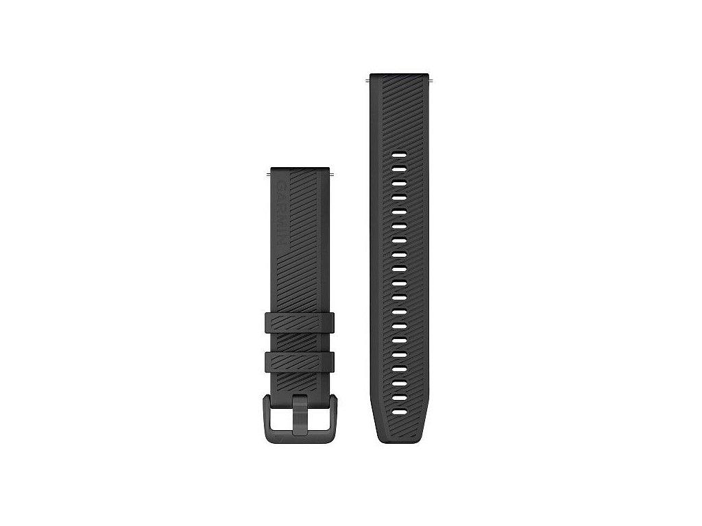 Řemínek Quick Release 20mm, silikonový černý, golfový, tmavá přezka
