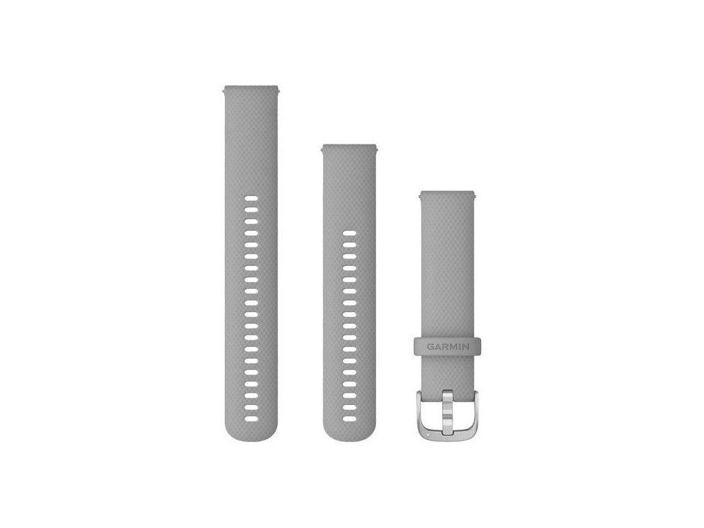 Řemínek Quick Release 20mm, silikonový šedý, stříbrná přezka