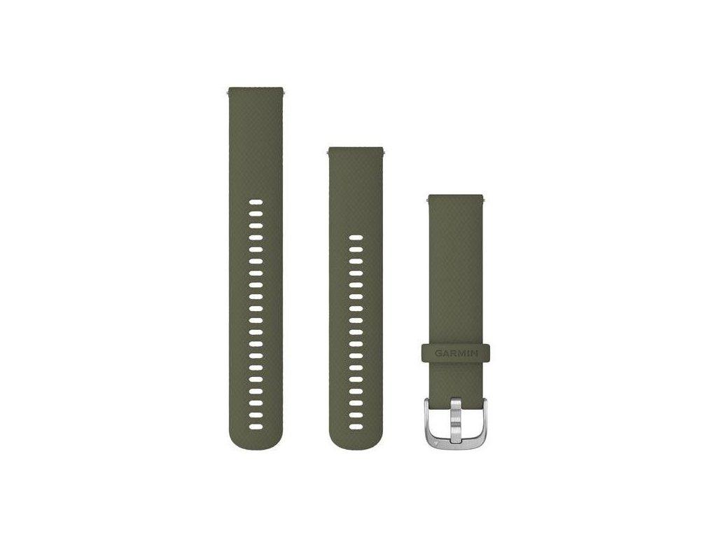 Řemínek Quick Release 20mm, silikonový zelený, stříbrná přezka