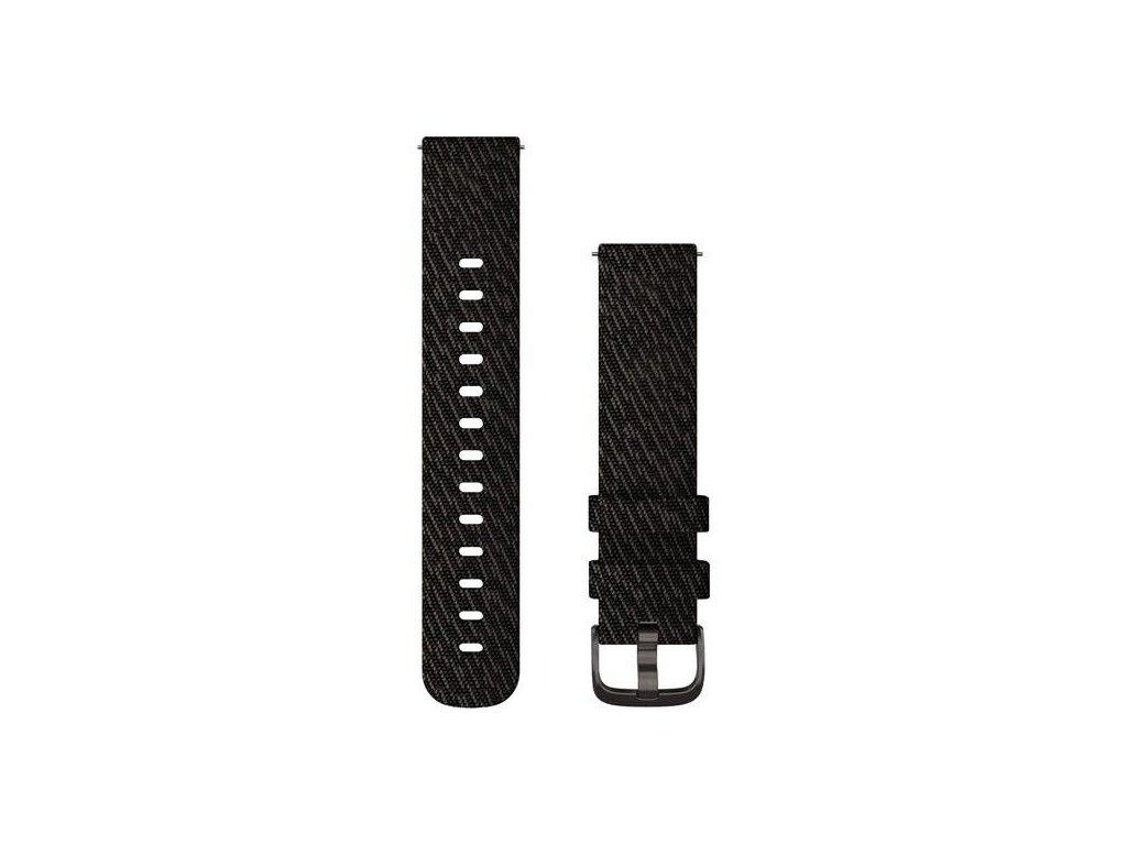 Řemínek Quick Release 20mm, nylonový černý, černá přezka