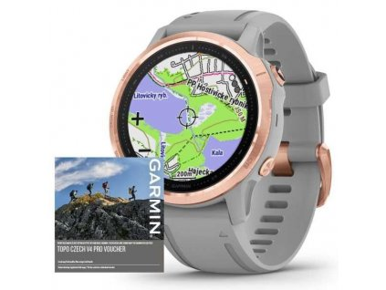 Garmin fenix6S PRO Sapphire Rose Gold / Gray Band (MAP/Music) TOPO Czech  Produkt z CZ distribuce s ovládáním v ČJ + tvrzené sklo na displej ZDARMA