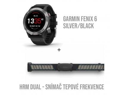SET Garmin fenix6 Glass + Snímač tepové frekvence (HRM DUAL)