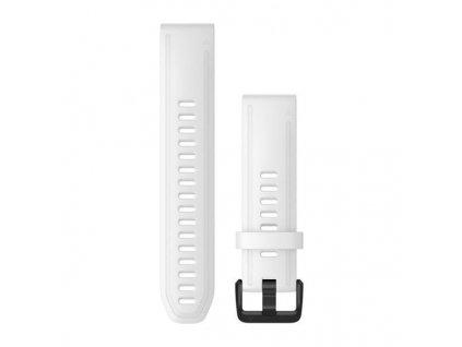 Řemínek QuickFit 20, silikonový, bílý, černá přezka