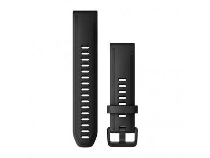 Řemínek QuickFit 20, silikonový, černý, černá přezka