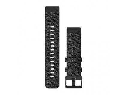 Řemínek QuickFit 20, nylonový, černý, černá přezka