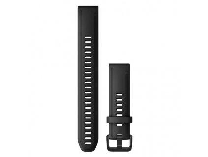 Řemínek QuickFit 20, silikonový, černý, dlouhý, černá přezka