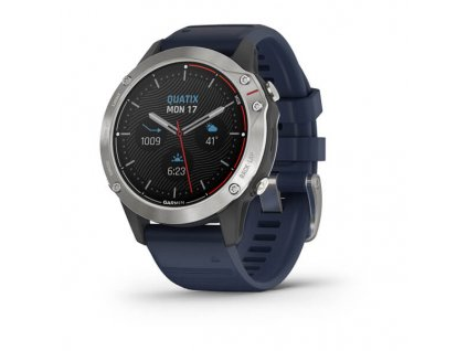 Garmin Quatix6 PRO - Glass Silver/Blue Silicone Band