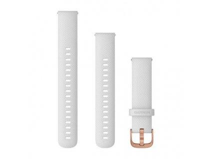 Řemínek Quick Release 18mm, silikonový bílý, růžovozlatá přezka