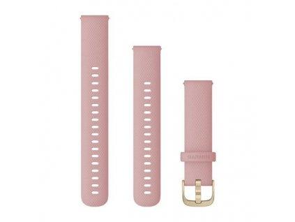 Řemínek Quick Release 18mm, silikonový růžový, zlatá přezka