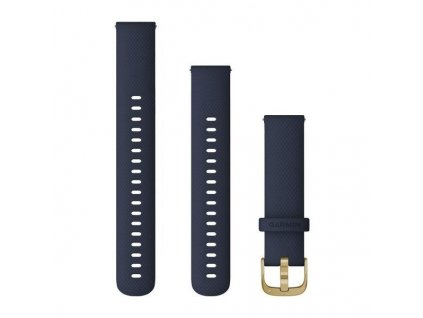 Řemínek Quick Release 18mm, silikonový tmavě modrý, zlatá přezka