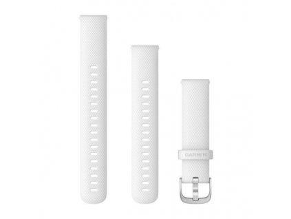 Řemínek Quick Release 18mm, silikonový bílý, stříbrná přezka