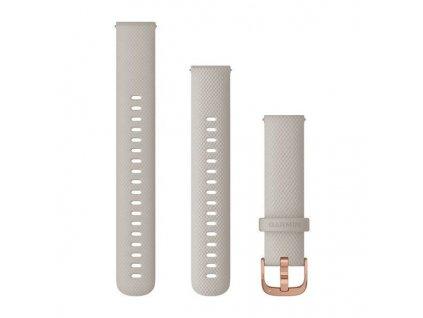 Řemínek Quick Release 18mm, silikonový béžový, růžovozlatá přezka