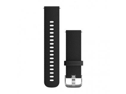 Řemínek Quick Release 20mm, silikonový černý, stříbrná přezka