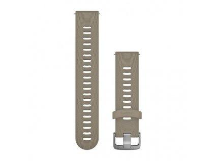 Řemínek Quick Release 20mm, silikonový béžový (Sandstone), sportovní, stříbrná přezka