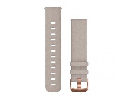 Řemínek Quick Release 20mm, semišový šedý, růžovozlatá přezka