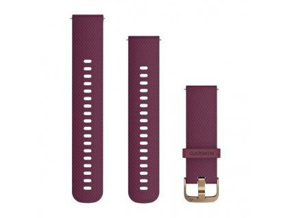 Řemínek Quick Release 20mm, silikonový vínový, zlatá přezka
