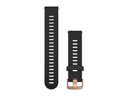 Řemínek Quick Release 20mm, silikonový černý, sportovní, růžovozlatá přezka