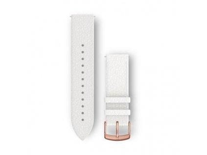 Řemínek Quick Release 20mm, kožený bílý, růžovozlatá přezka