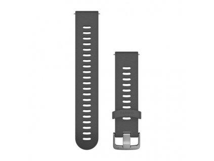 Řemínek Quick Release 20mm, silikonový tmavě šedý, sportovní, stříbrná přezka