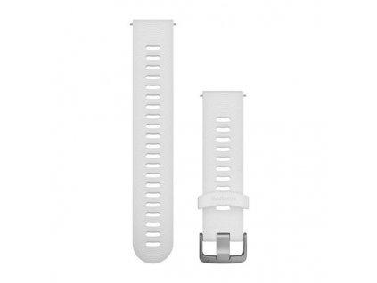 Řemínek Quick Release 20mm, silikonový bílý, sportovní, stříbrná přezka