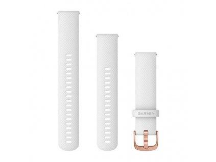 Řemínek Quick Release 20mm, silikonový bílý, růžovozlatá přezka