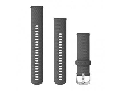 Řemínek Quick Release 22mm, silikonový tmavě šedý, stříbrná přezka