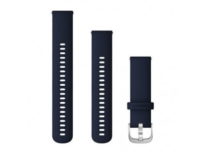 Řemínek Quick Release 22mm, silikonový tmavě modrý, stříbrná přezka