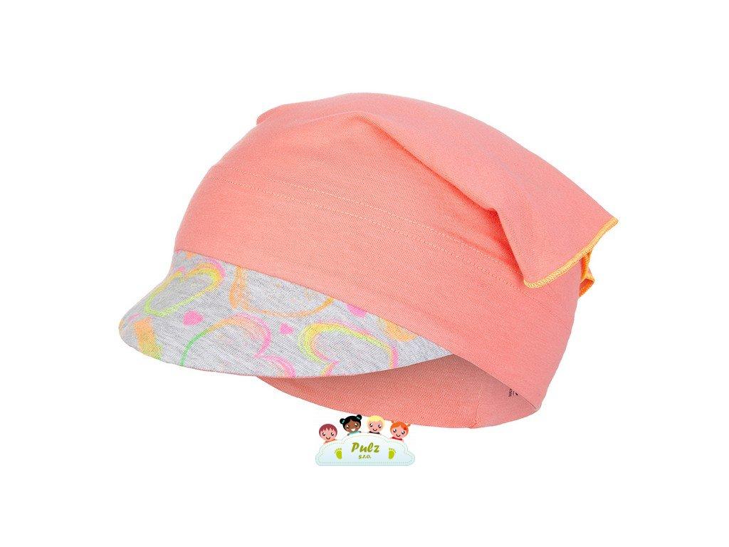 Šátek tenký kšilt Outlast® - tm.coral/neon srdce (Velikost 3 | 42-44 cm)
