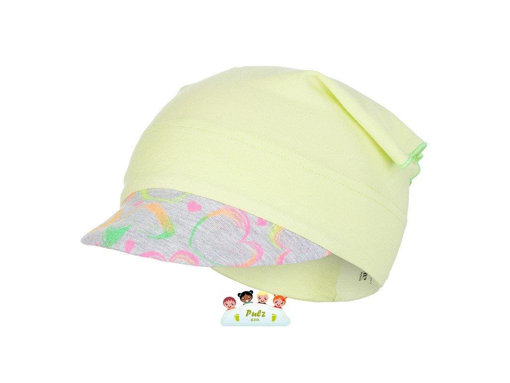 Šátek tenký kšilt Outlast® - citronová/neon srdce (Velikost 3   42-44 cm)