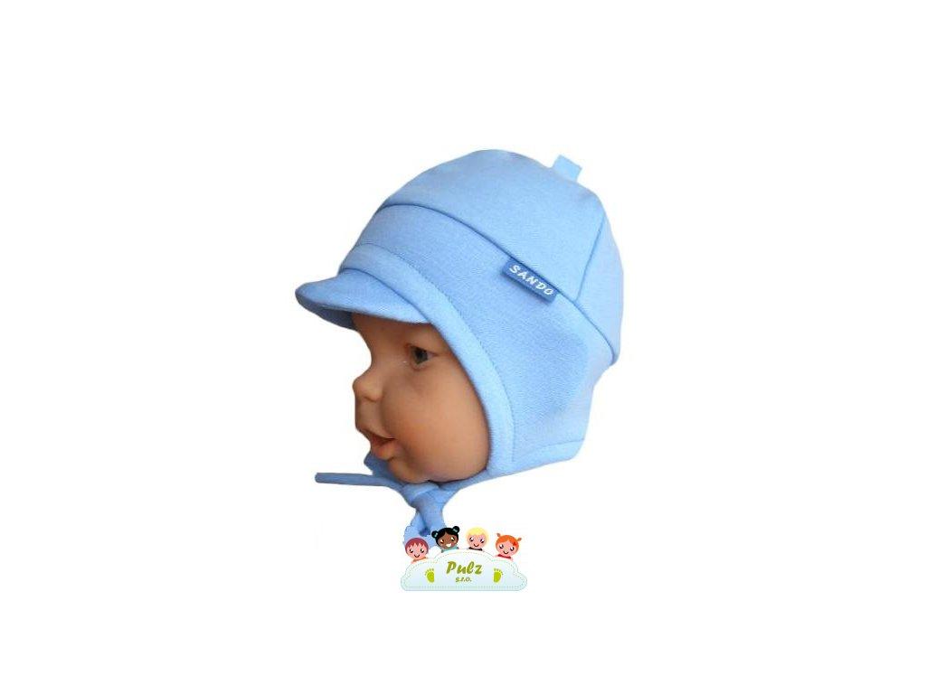Sando 271 Jednobarevná vázací bavlněná čepice modrá vel.43-45