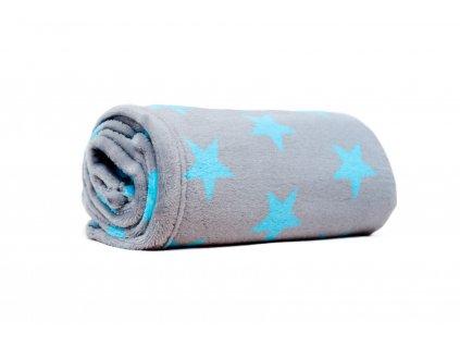 MAJAB Dětská deka Hvězdy modrá/šedá (Rozměr 100x70cm)