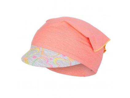 Šátek tenký kšilt Outlast® - tm.coral/neon srdce Velikost: 42-44 cm