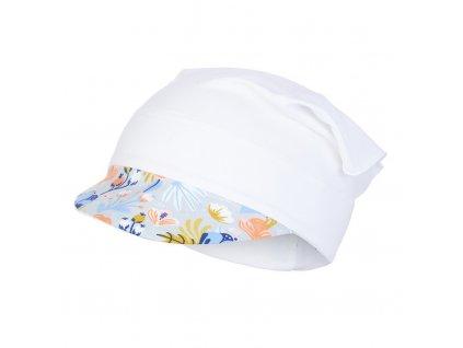 Šátek tenký kšilt Outlast® - bílá/sv.šedé kvítí (Velikost 3   42-44 cm)