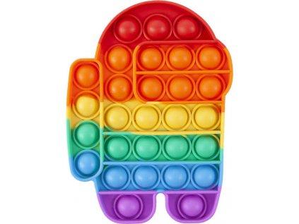 Hra Pop It antistresová Bubble Pops 11x15cm 29 bublin silikon astronaut duhový