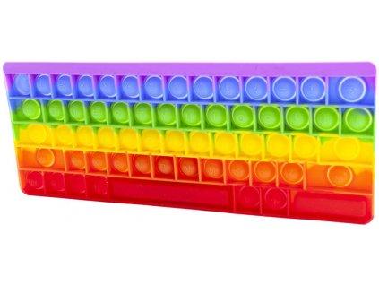 Hra Pop It antistresová Bubble Pops 27x11cm 58 bublin silikon klávesnice duhová