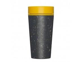 rcup opakovane pouzitelny kelimek na kavu z recyklovanych kelimku zluta black and mustard zelenadomacnost