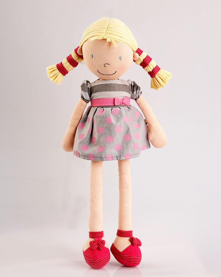 Bonikka látková panenka 46cm - Peggy – Ann – puntíkované šaty a blond vlasy