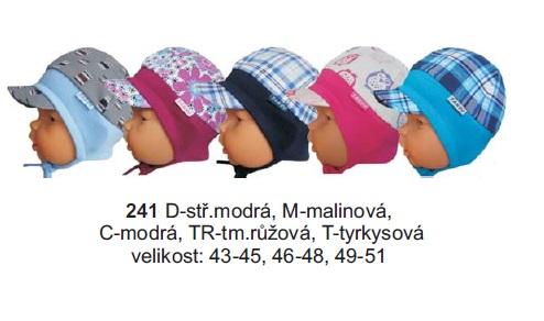 Sando 241 - Dětská čepice na uši s kšiltem tm.růžová 49-51
