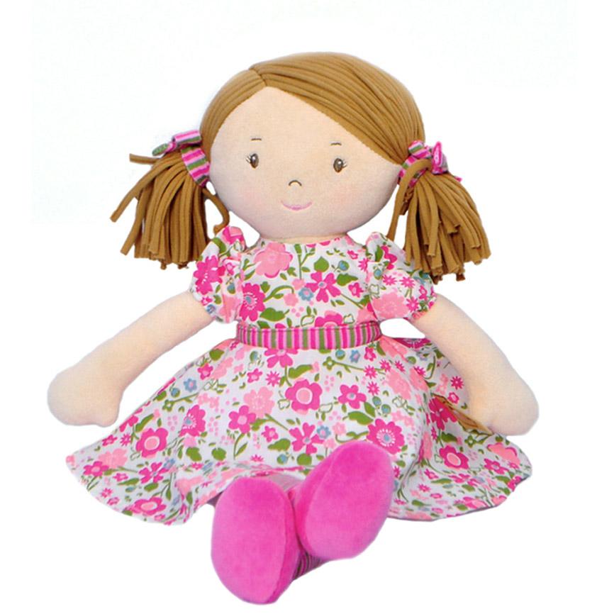 Bonikka látková panenka 41cm - Fran – ružové šaty