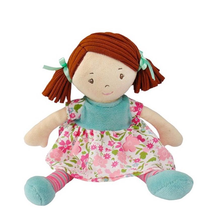 Bonikka látková panenka 26cm - Malá Katy – ružovo-modré šaty