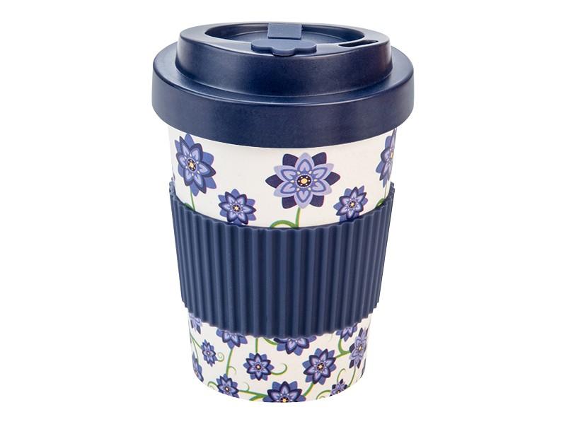 Woodway - opakovaně použitelný kelímek z bambusu Bouquet of flowers Blue 300ml