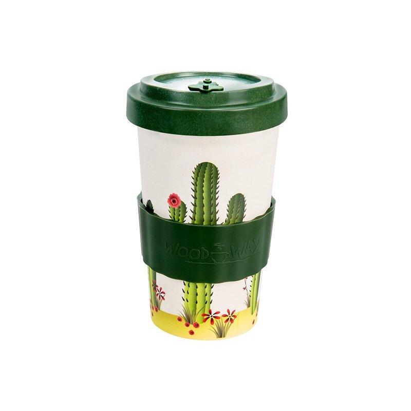 Woodway - opakovaně použitelný kelímek z bambusu na kávu s sebou Cactus Green 500 ml