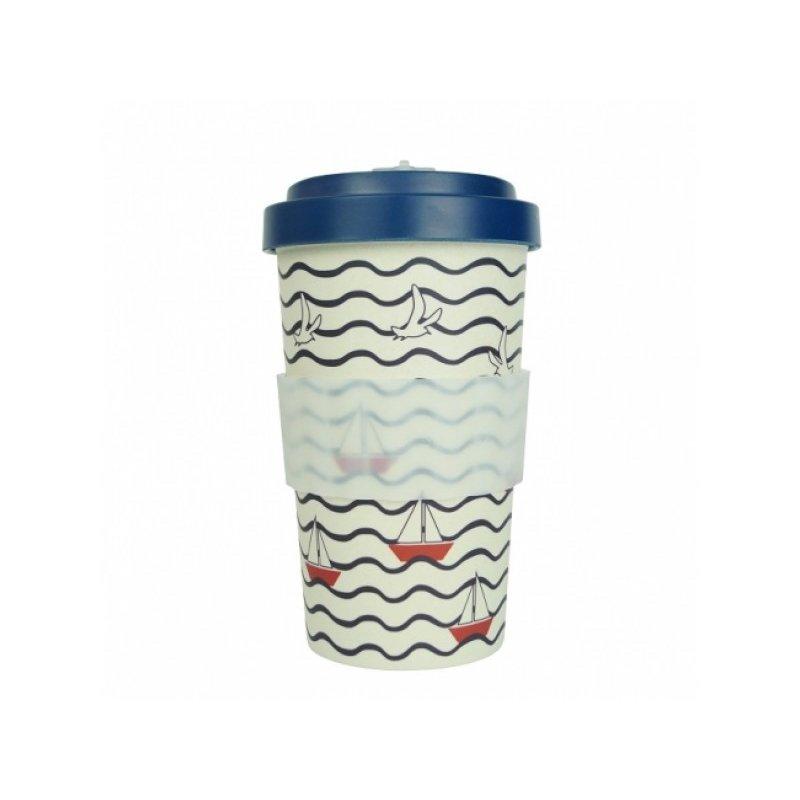 Woodway - opakovaně použitelný kelímek z bambusu na kávu s sebou Summer Blue 500 ml