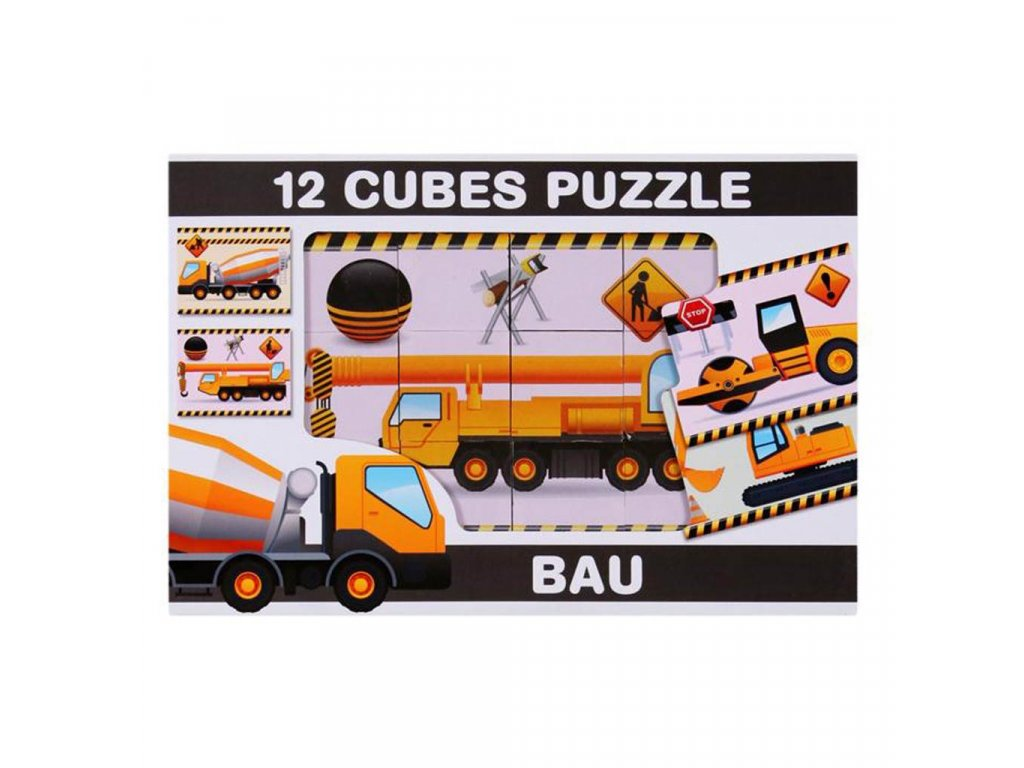 Skládací obrázkové kostky 12 ks stavební stroje