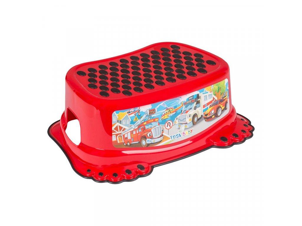 Dětské protiskluzové stupátko do koupelny Autíčka červené