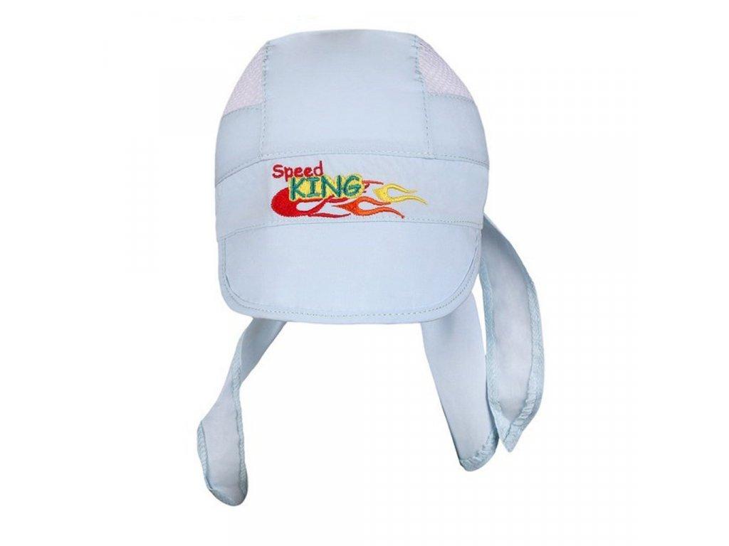 Letní dětská čepička-šátek New Baby Speed King světle modrá