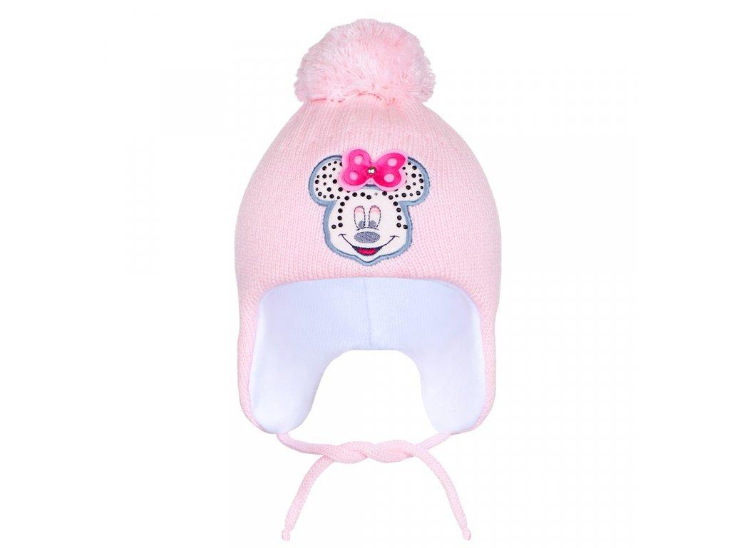 Zimní dětská čepička New Baby Minnie světle růžová