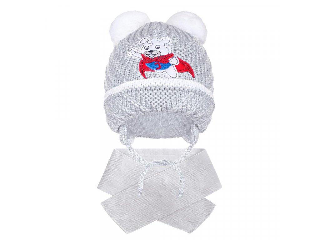 Zimní dětská čepička se šálou New Baby medvídek J šedá