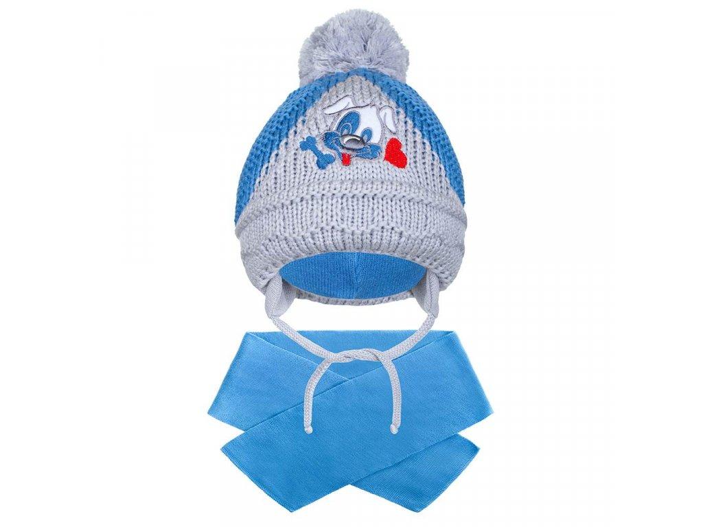 Zimní dětská čepička se šálou New Baby pejsek tmavě modrá