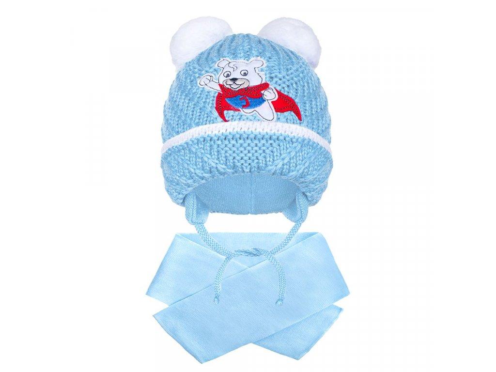 Zimní dětská čepička se šálou New Baby medvídek J světle modrá